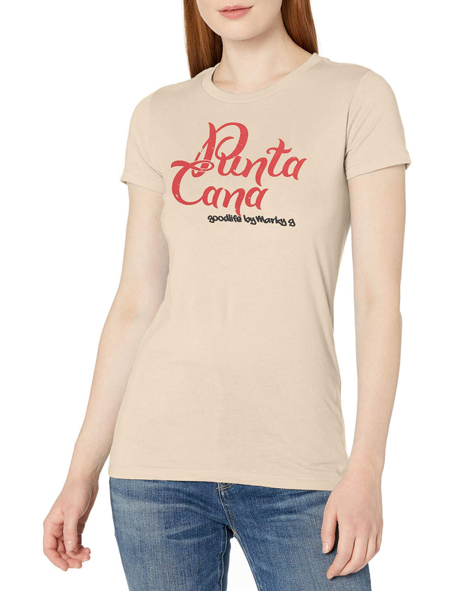 Marky G Apparel Women's Casual Short Sleeve Crewneck Tops Slim Fit T-Shirt With Punta Cana Printed - Clementine Apparel