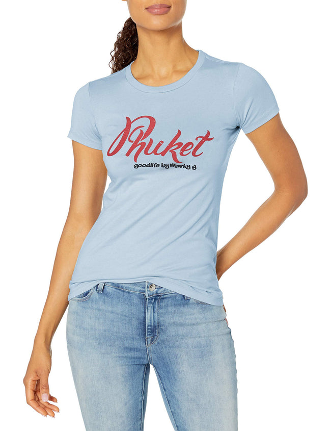 Marky G Apparel Women's Casual Short Sleeve Crewneck Tops Blouses Slim Fit T-Shirt With Phuket Printed - Clementine Apparel
