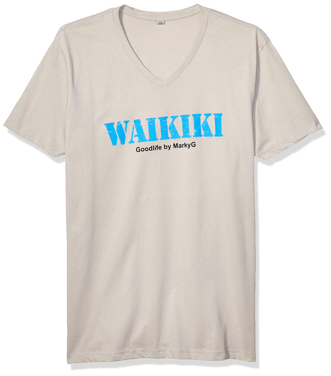 Marky G Apparel Men's Waikiki Graphic Printed Premium Tops Fitted Sueded Short Sleeve V-Neck T-Shirt - Clementine Apparel