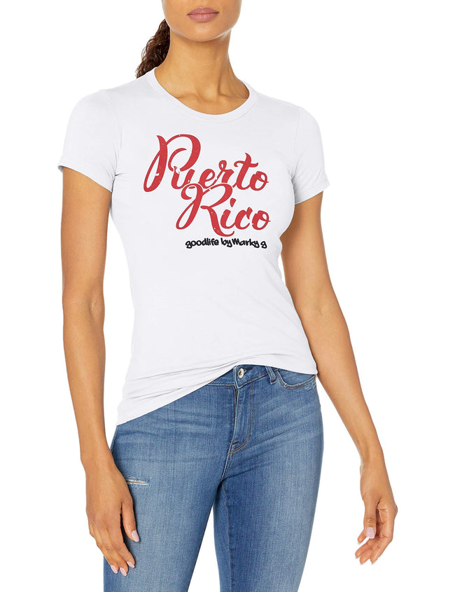 Marky G Apparel Women's Casual Short Sleeve Crewneck Tops Slim Fit T-Shirt With Puerto Rico Printed - Clementine Apparel