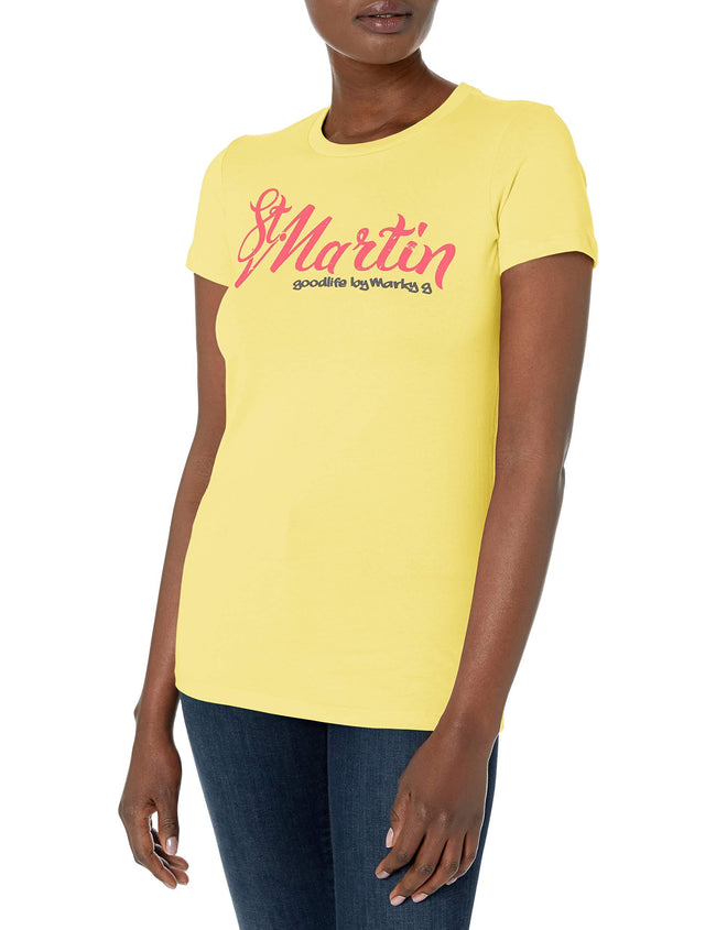 Marky G Apparel Women's Casual Short Sleeve Tops Blouses Slim Fit T-Shirt With St. Martin Printed - Clementine Apparel