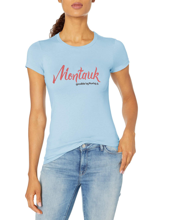 Marky G Apparel Women's Casual Short Sleeve Crewneck Tops Blouses Slim Fit T-Shirt With Montauk Printed - Clementine Apparel