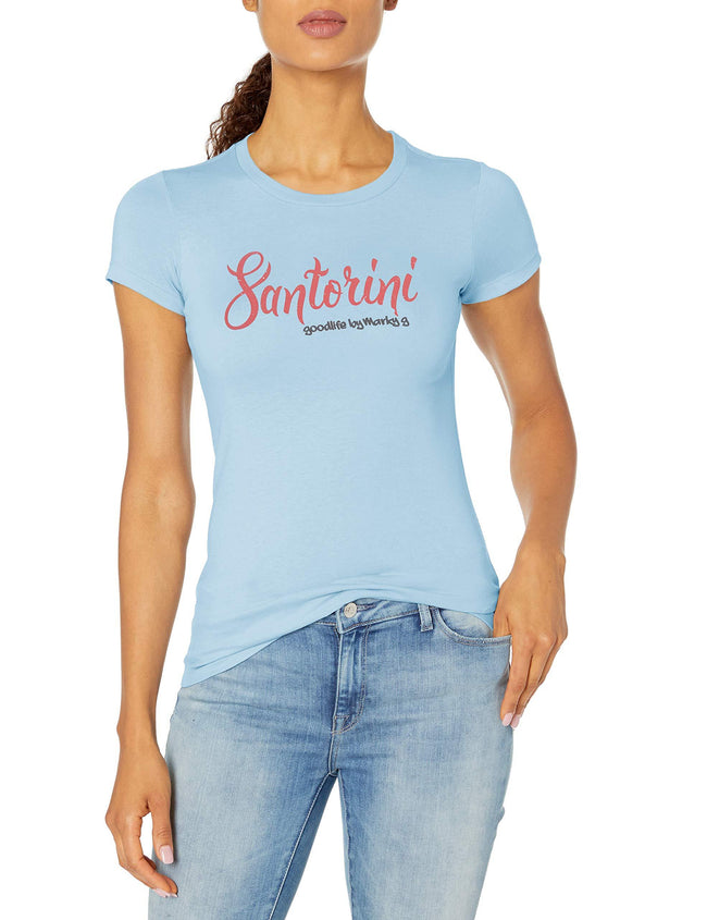 Marky G Apparel Women's Casual Short Sleeve Crewneck Tops Slim Fit T-Shirt With Santorini Printed - Clementine Apparel