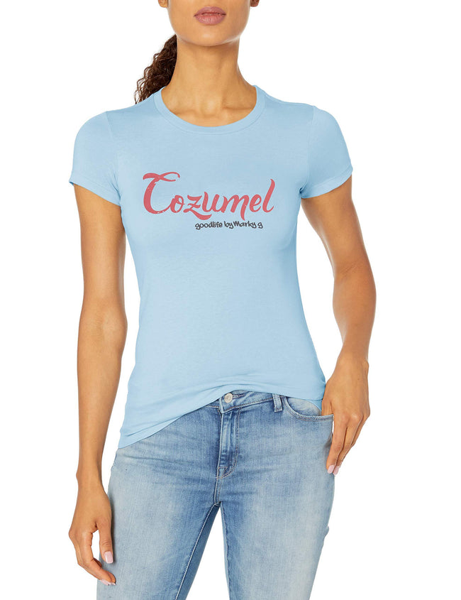 Marky G Apparel Women's Casual Short Sleeve Crewneck Tops Blouses Slim Fit T-Shirt With Cozumel Printed - Clementine Apparel