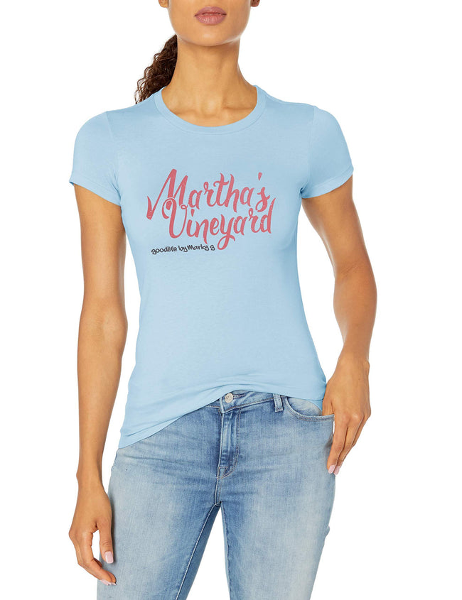 Marky G Apparel Women's Short Sleeve Crewneck Tops Slim Fit T-Shirt With Martha'S Vineyard Printed - Clementine Apparel