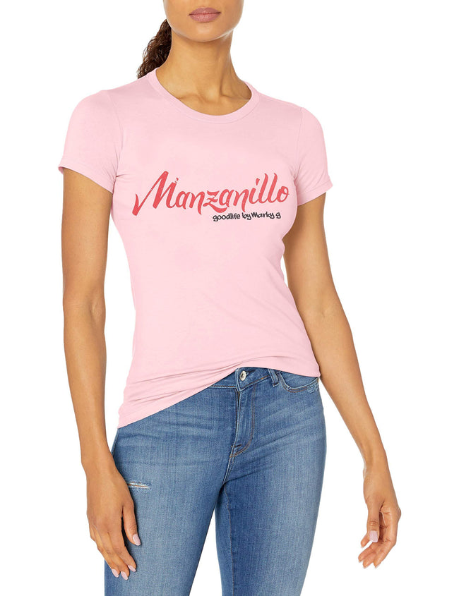 Marky G Apparel Women's Casual Short Sleeve Crewneck Tops Slim Fit T-Shirt With Manzanillo Printed - Clementine Apparel