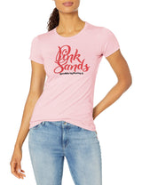 Marky G Apparel Women's Casual Short Sleeve Crewneck Tops Slim Fit T-Shirt With Pink Sands Printed - Clementine Apparel