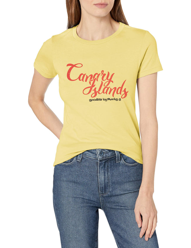 Marky G Apparel Women's Casual Short Sleeve Crewneck Tops Slim Fit T-Shirt With Canary Islands Printed - Clementine Apparel