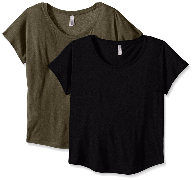 Clementine Women's Tri-Blend Scoop Neck Dolman Sleeve Top (Pack of 2) - Clementine Apparel