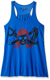 Clementine Women's Petite Plus Pirate Printed Flowy Racerback Tank Top - Clementine Apparel