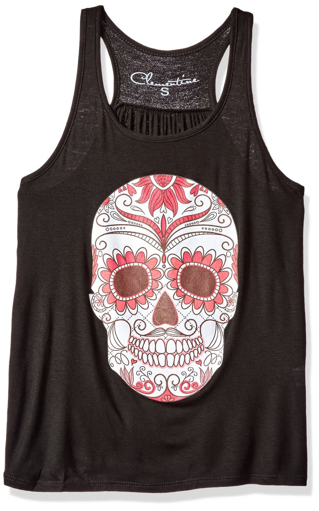 Clementine Women's Petite Plus Ladies' with Floral Skull Printed Flowy Racerback Tank - Clementine Apparel