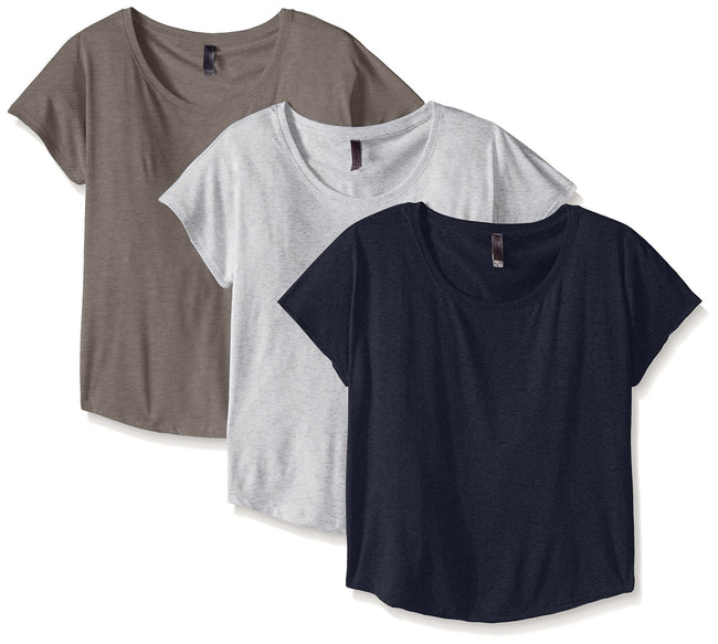 Clementine Women's Tri-Blend Scoop Neck Dolman Sleeve Top (Pack of 3) - Clementine Apparel