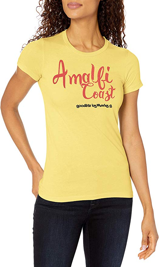 Marky G Apparel Women's Casual Short Sleeve Crewneck Tops Slim Fit T-Shirt with Amplify Coast Printed - Clementine Apparel