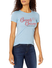 Marky G Apparel - Women's Casual Short Sleeve Crewneck Tops Slim Fit T-Shirt with Beach Life Printed - Clementine Apparel