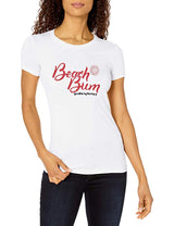 Marky G Apparel - Women's Casual Short Sleeve Crewneck Tops Slim Fit T-Shirt with Beach Bum Printed - Clementine Apparel