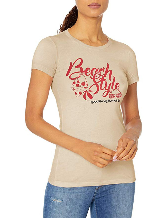 Marky G Apparel - Women's Casual Short Sleeve Crewneck Tops Slim Fit T-Shirt with Beach Style Printed - Clementine Apparel