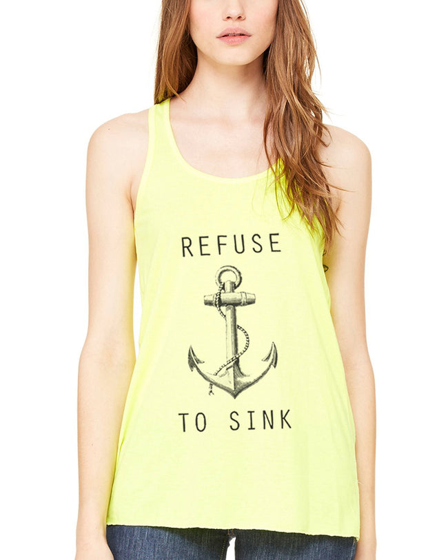 "Limited Edition! ""Refuse to Sink"" Flowy Racerback Tank Top - Clementine Apparel"