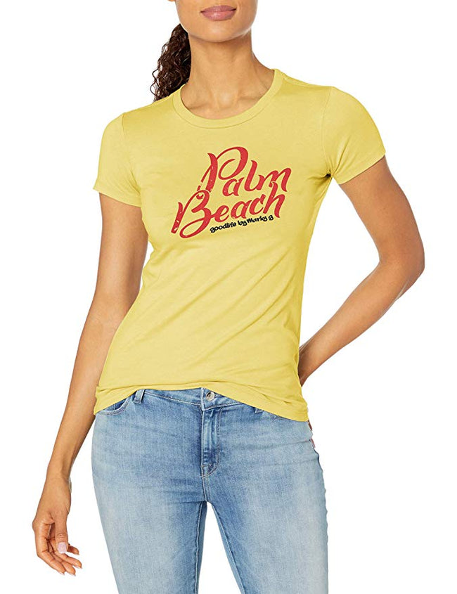 Marky G Apparel - Women's Casual Short Sleeve Crewneck Tops Slim Fit T-Shirt with Palm Beach Printed - Clementine Apparel