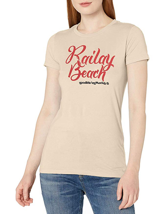 Marky G Apparel - Women's Casual Short Sleeve Crewneck Tops Slim Fit T-Shirt with Railay Beach Printed - Clementine Apparel