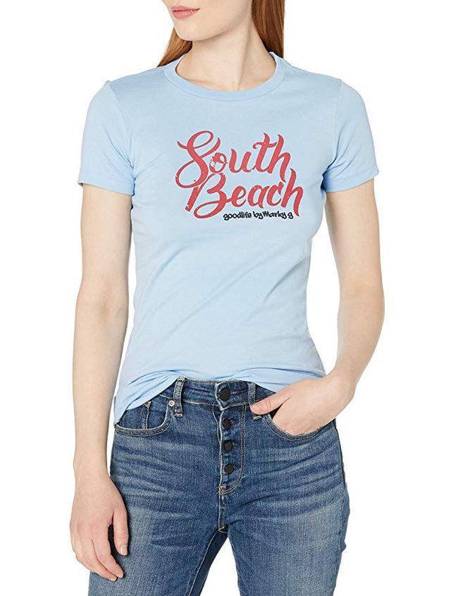 Marky G Apparel - Women's Casual Short Sleeve Crewneck Tops Slim Fit T-Shirt with South Beach Printed - Clementine Apparel