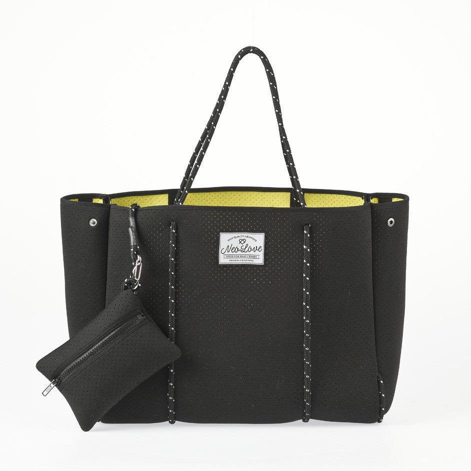 8215488fc379 Neo Love Neoprene Tote Beach Bag - Black – Long and Short