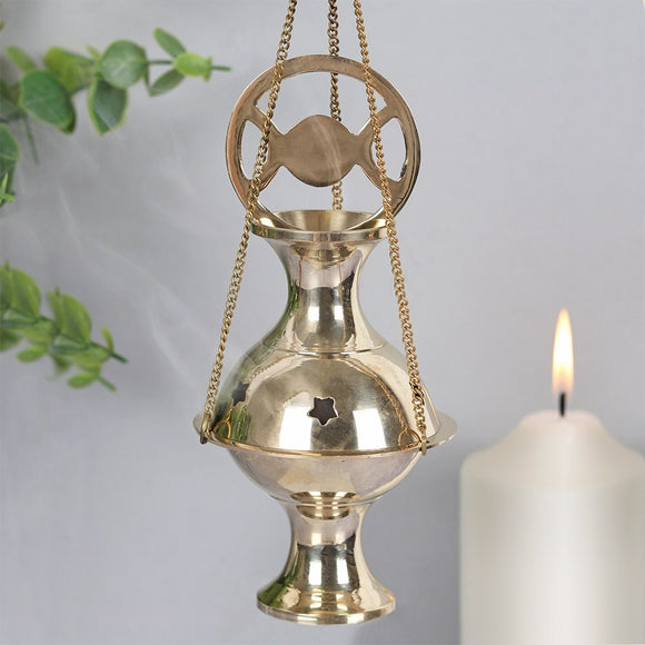 Triple Moon Brass Incense Censer