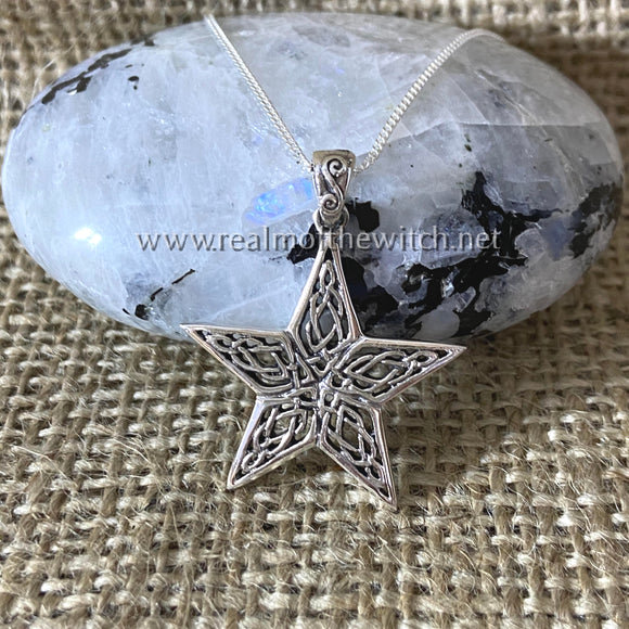 Sterling Silver Celtic Knot Star Necklace