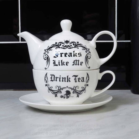 'Freaks Like Me Drink Tea' Tea Set For One by Alchemy