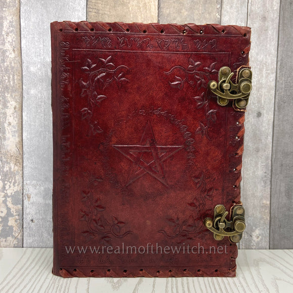 Leather Embossed Book of Shadows or Grimoire 25cm Small
