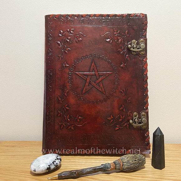 Leather Embossed Book of Shadows or Grimoire 35cm Large