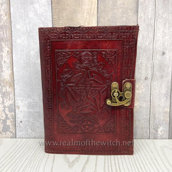 Leather Embossed Book of Shadows or Grimoire with Pentagram 21cm
