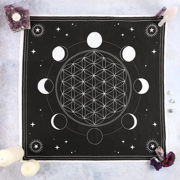 Moon Phase Crystal Grid Altar Cloth 70 x 70cm