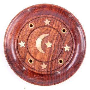Sheesham Wood Round Moon & Stars Ash Catcher Incense Burner