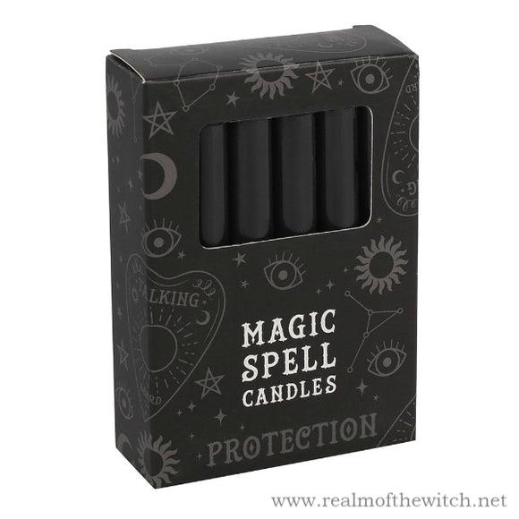 Pack of 12 Black 'Protection' Spell Candles