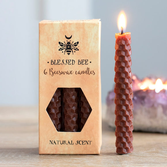 Pack of 6 Blessed Bee Brown Beeswax Spell Candles