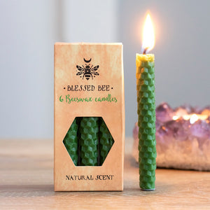 Pack of 6 Blessed Bee Green Beeswax Spell Candles