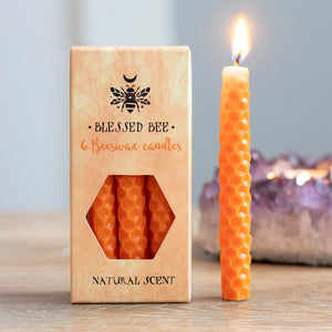 Pack of 6 Blessed Bee Orange Beeswax Spell Candles