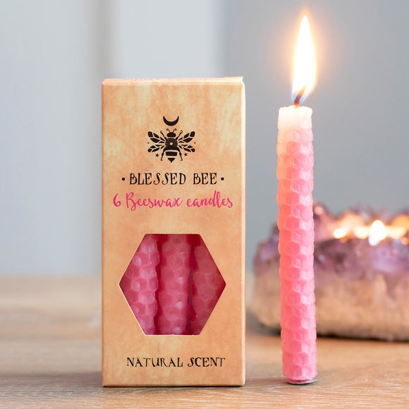 Pack of 6 Blessed Bee Pink Beeswax Spell Candles