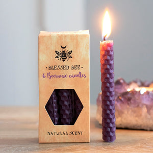 Pack of 6 Blessed Bee Purple Beeswax Spell Candles