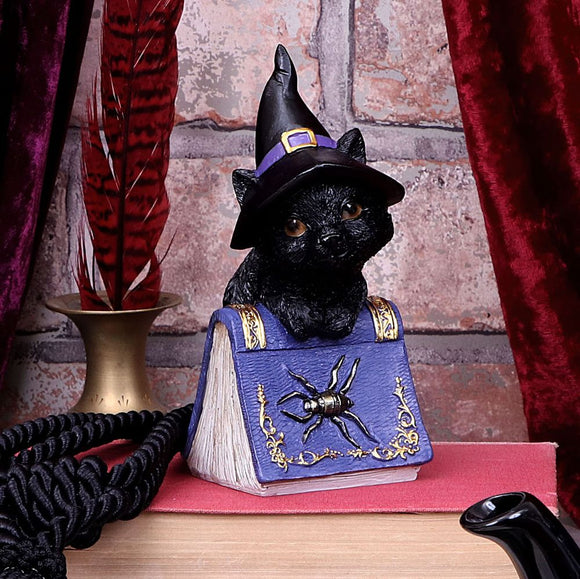 Pocus Small Witches Familiar Black Cat and Spellbook Figurine