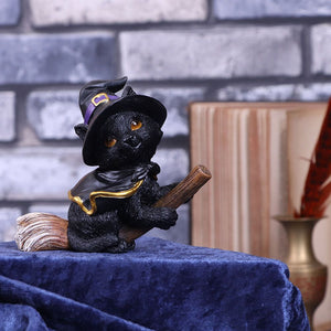 Tabitha Small Witches Familiar Black Cat and Broomstick Figurine 11cm