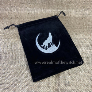 Tarot/Oracle Card Bag ~ Black with Wolf Design Embroidery