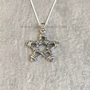 Sterling Silver Twig Pentagram Necklace