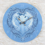 Anne Stokes Unicorn Heart Glass Wall Clock