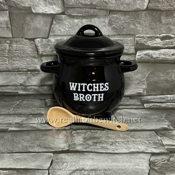 Witches Broth Cauldron Broth Soup Bowl with Broomstick Spoon