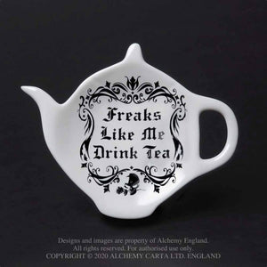 'Freaks Like Me Drink Tea' Tea Spoon Rest by Alchemy