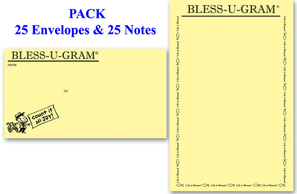 BLESS-U-GRAM® PACK of 25 - Large Notes (Life Is Blessed®)