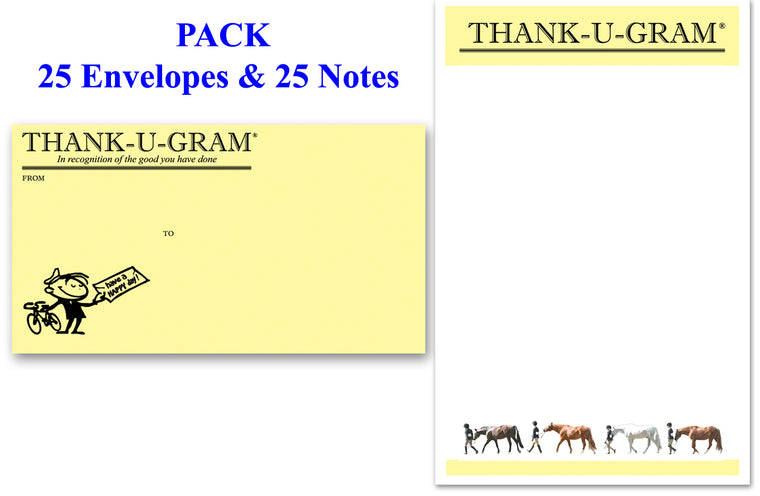 THANK-U-GRAM® Equestrian - PACK of 25 - Large Notes