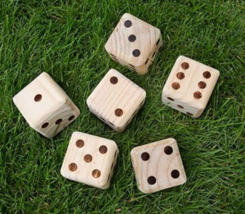 Giant Wooden Yard Dice set of 6 - NEW  ( FREE SHIPPING )