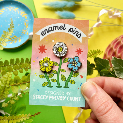 Cute Flowers Enamel Pin Set